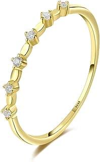 Anello in argento 925 piccolo fresco ed elegante semplice moda 14 K placcato oro sottile zircone anello accessori femminili