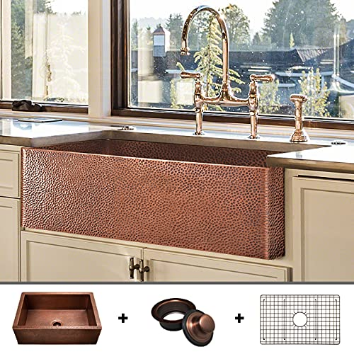 Luxury heavy-gauge (12-gauge) 33-inch modern copper farmhouse sink (48 lbs pure copper), apron front, single bowl, antique copper finish, grid and flange included, fsw1105 by fossil blu