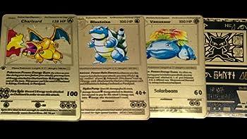 Custom Gold Metal 1st Edition Base Set Pokemon Cards Featuring Charizard Blastoise Venusaur and Ancient Mew