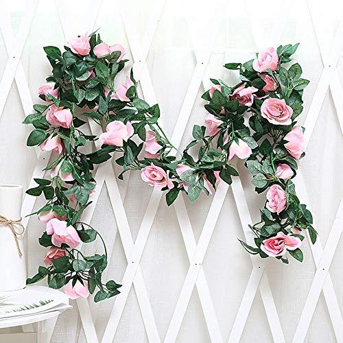 LHTGORN Artificial Rose Vines Artificial Rose Silk Flower Garland Home Outdoor Wedding Arch Garden Wall Decor (Pink)
