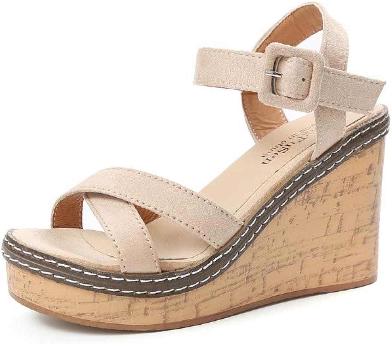 WTKRSM Women's Open-Toed Wooden Heels Sandals with Sloping Heels