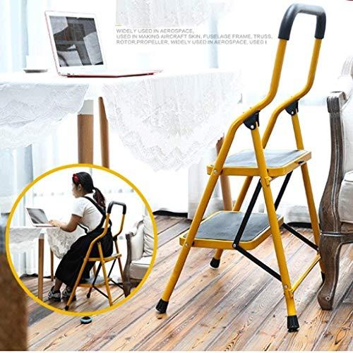 WYKDL Rango de Trabajo Escalera con Plataforma Plegable del hogar Taburete de Paso Ancho Pedal Robusto Escalera del Mango Antideslizante Familia General Perfil Engrosamiento del hogar Plegable