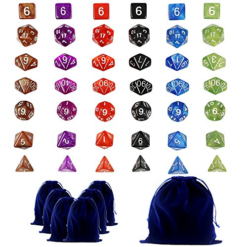 Goodlucky365 42 Dados Polidricos-Serie Completa de 7 Dados en 6 Colores-42 Dados en 6 Pequeas Bolsas de Dados-Grande Bolsa de Terciopelo Gratis Para Juego de Mesa Dungeons and Dragons Dado