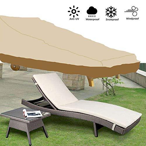 myChoose - Funda para tumbona de jardín para exteriores, impermeable, tela de ratán, protección contra rayos UV, 208 x 76 x 41/79 cm (beige y café)