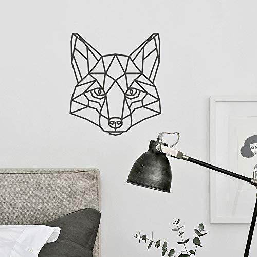 mlpnko Fox Wandtattoo Kinderzimmer Geometrie Fuchs Kopf Aufkleber Schlafzimmer abnehmbare Karte Wandbild Tier 49X54cm