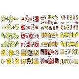 Wtbhd 12 diseños de uñas Texto Agua Calcomanías Labios Dedo del Deslizador de Transferencia Palabras manicura Set Tatuajes Pegatina de uñas (Color : BN1597 1608)