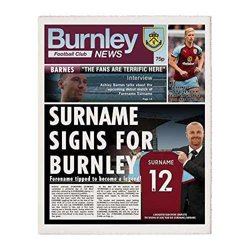 Official Personalised Burnley FC News Single Page Print