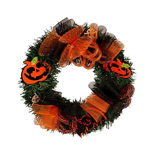 LIOOBO 1 Pieza Corona de Halloween Diseño de Calabaza Murciélago Lazo Guirnalda Naranja Adorno para Puerta Jardín Tienda Ventana Sin Batería