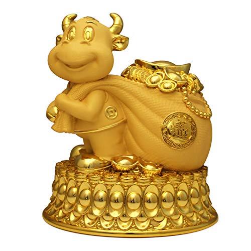 Estatua de adorno de resina del zodiaco chino Feng Shui, toro/vaca, arena oro, riqueza Tauro, hucha, se puede almacenar y tomar, S