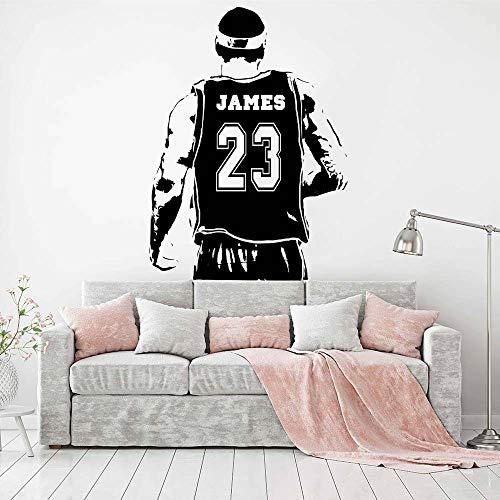 Nombre personalizado Jugador de baloncesto Jersey NBA LeBron James LBJ King # 23 Etiqueta de la pared Vinilo Art Decal Boy Fans Dormitorio Club Sala de estar Decoración para el hogar Mural
