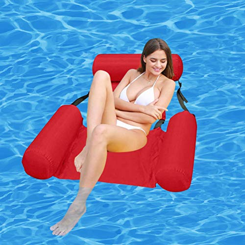 Pool Float Inflatable Water Hammock Floating Bed Lounge Chair, Summer Inflatable Foldable Floating Row Chair Beach Swimming Pool Water Sports Hammock, Drifter Swimming Pool Beach Float (Red)
