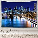 """MINAKO New York City Manhattan Skyline Tapestry,Panorama View Over East River with Brooklyn Bridge NYC Urban Skyscrapers Lights Reflections at Night USA Cityscape Tapestry Wall Hanging 60""""x51"""""""