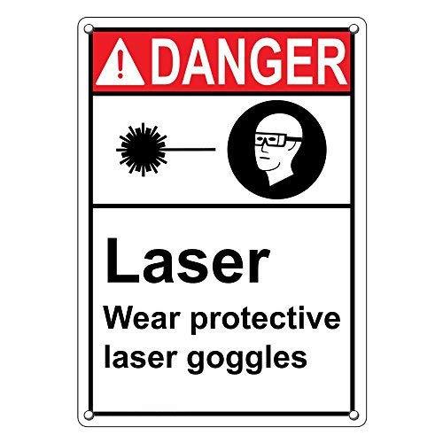 Vertikale ANSI Danger Laser Wear Schutzbrille, Warnschilder und Plakette, Aluminium, für Privathaushalt, Hof, lustiges Geschenk, 20,3 x 30,5 cm