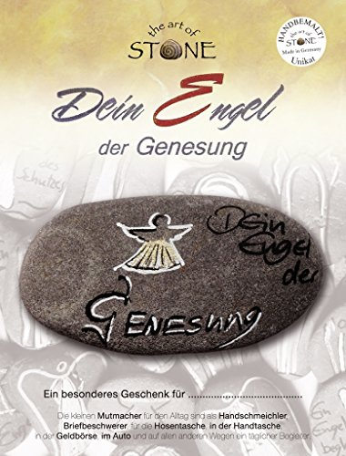 The Art of Stone Engel der Genesung - Handbemalter Naturstein Unikat Handschmeichler Glücksbringer Talisman Beschützer