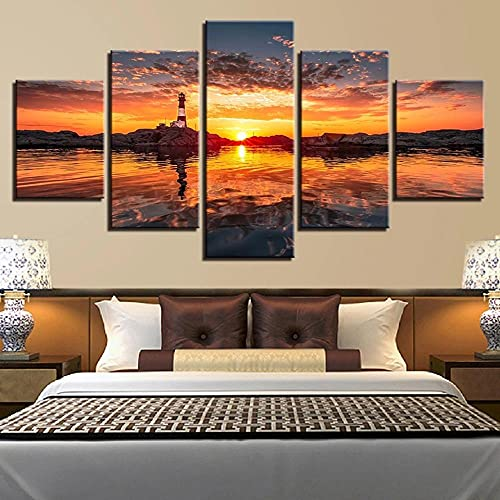 wangdazhuang 5 piezas moderno lienzo pintura pared amanecer faro para decoración del hogar impresión sobre lienzo para decoración de pared - 150 x 80 cm