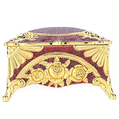 OIHODFHB Caja de joyería retro clásica de la aleación del cinc del estilo europeo de la joyería de la corte real del envase vino