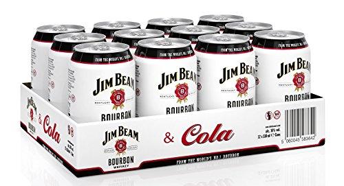 Jim Beam & Cola Bourbon Whiskey Dose, eine perfekte Mischung, 10% Vol, 12 x 0,33l Einweg