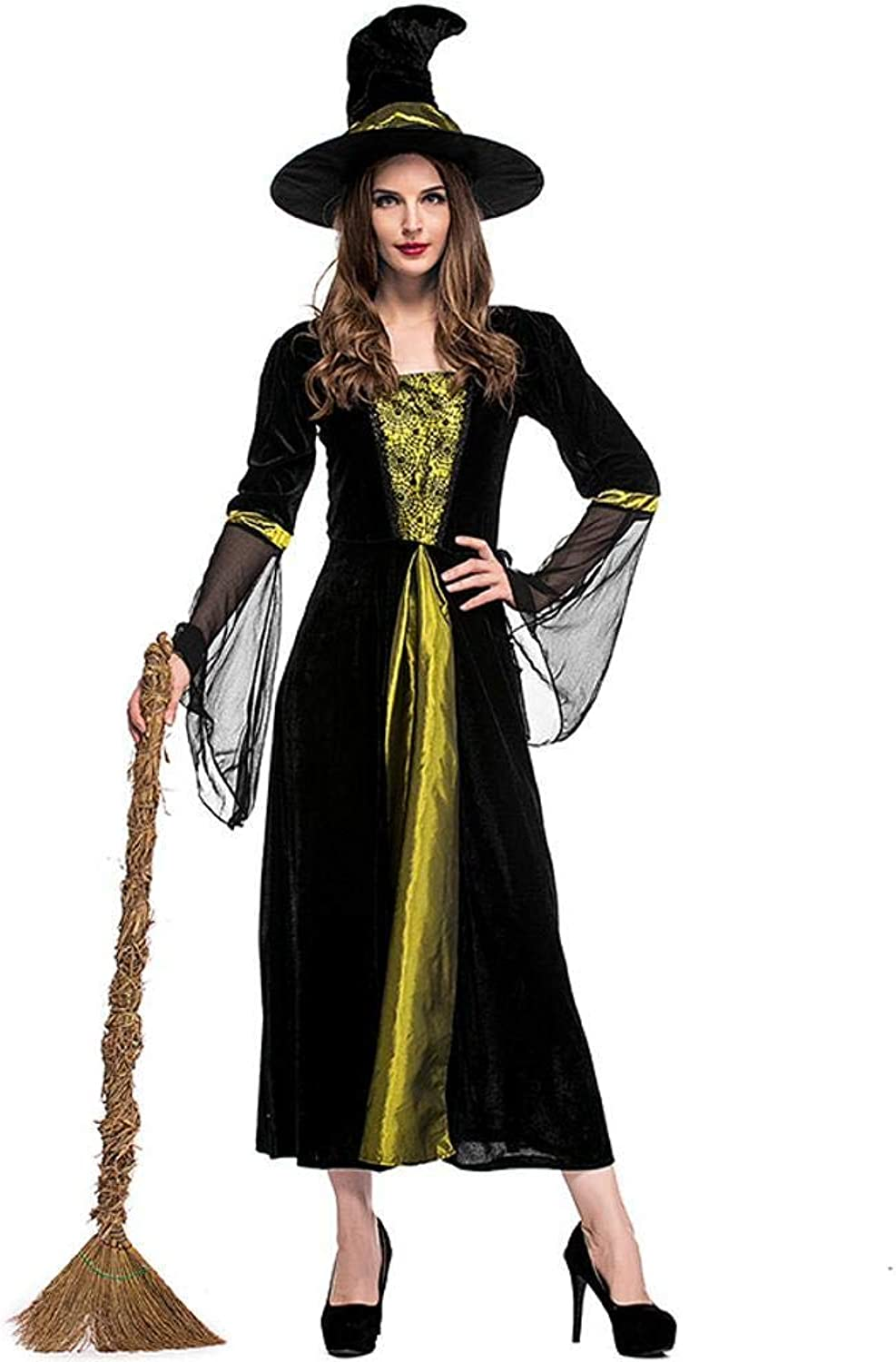 Olydmsky Halloween Costumes Women Halloween Witch Costume Adult Role Play Green Black Witch Performance Costume