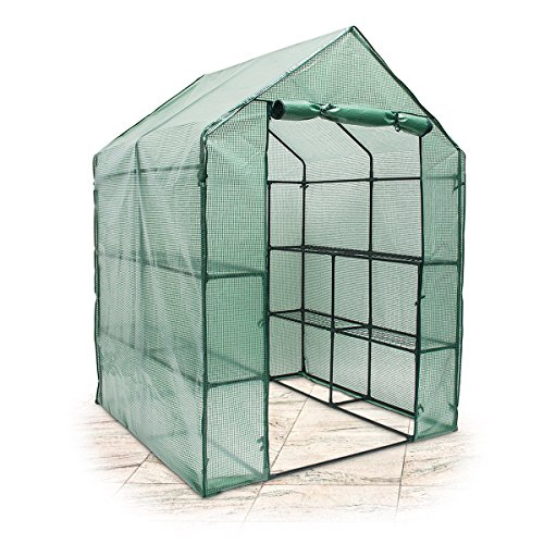 Relaxdays Garden Greenhouse Grow Tent Tarpaulin Large Shelves–weather Protective Cover 140x 190x 140cm Green