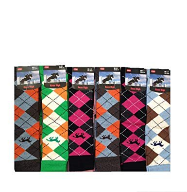 6 Pairs Women/'s Argyle Design riding Causal  Long Ladies Knee high Socks 4-7