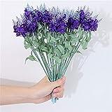 5 racimos de flores artificiales de lavanda con 5 tenedores, 25 flores, flores falsas para boda, hogar, oficina, fiesta, hotel, ventana, decoración, arreglos florales