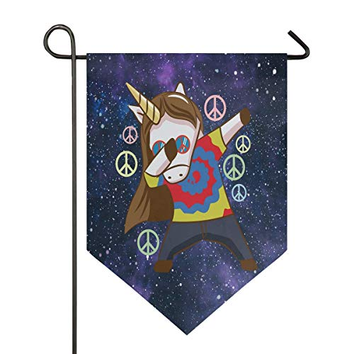 jenny-shop Unicorn Dabbing Peace Sign Lustige Pferdetanz Galaxy Tie Dye Garden Flag Doppelseitig 12,5 x 18 Zoll