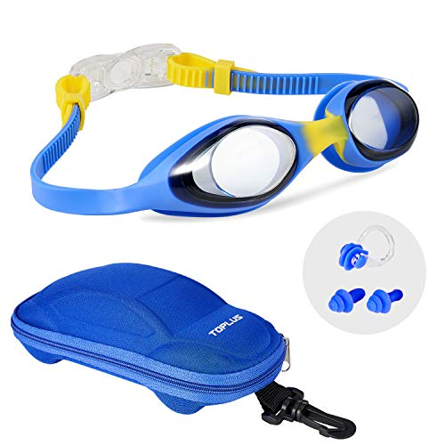 Kids Goggles, TOPLUS Kids Swim Goggles for Boys Girls Swimming Goggles Anti-Fog Leak Proof Kids Goggles for Swimming - Soft Silicone and Clear Vision