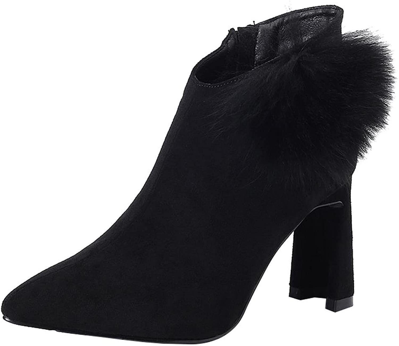 Frau Kurz Stiefel Hoch Fersen Leder Reißverschluss Reißverschluss Reißverschluss Dicker Plüsch Warm Knöchel Schuhe  b1a58c