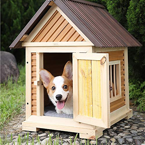 LiangDa Outdoor Pet House Outdoor Rainproof Wooden Pet Shelter Easy To Install For Puppies And Dogs Cat Kennel Outdoor Pet Shelter (Color : Natural, Size : 56x41x70cm)