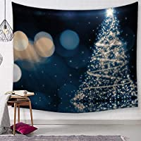 Tree Lights Wall Tapestry Snow Scenes Tapestry Wall Hanging Home Festival Decor Party Background Wall Blanket Carpet 150x200cm
