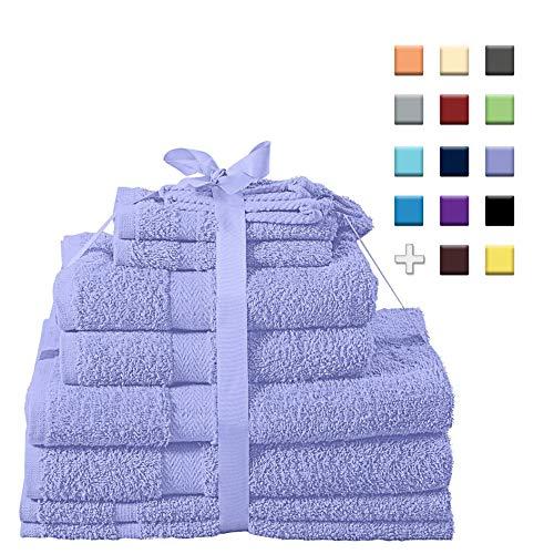Heim24h 10er Handtuch Set 2 Handtücher 2 Duschtücher 2 Gästetücher 2 Waschhandschuhe 2 Badematten Premium Qualität aus 100{b67949162b8663d1886eade1c2341bfa50cbcda33d80be685cdf2466486b6df9} Baumwolle weich mit hoher Saugfähigkeit (Lila)