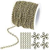 wxj1336pies/12m Color de bronce chapado en Cable redondo cadena de enlace collar con cierres de langosta 20y 30anillos de salto para collar joyas accesorios DIY...