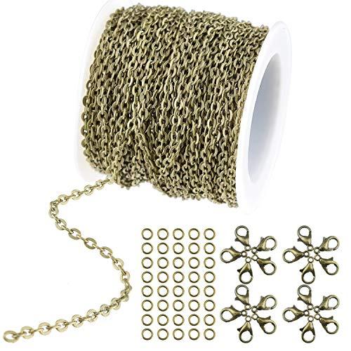 WXJ13 - Catena tonda placcata in bronzo con 20 moschettoni e 30 anelli di salto per collane, gioielli, accessori fai da te, larghezza 2,5 mm