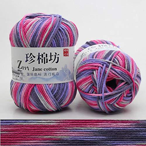Hilo de algodón con Leche de 3 * 50g,Color Degradado,Tejido para bebé,Hilo de Ganchillo,líneas...