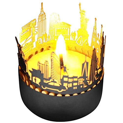 13gramm New York-Skyline Windlicht Schattenspiel Souvenir, 3D Edelstahl Aufsatz für Kerze inkl. Karte