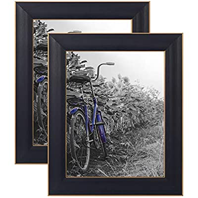 """Americanflat Picture Frame in Black with Gold Trim and Lead Free Polished Glass for Wall and Tabletop - 8"""" x 10"""" - Pack of 2"""