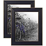 Americanflat 2 Pack Black Picture Frames with Gold Trims   Displays Two 8x10 Inch Photos. Lead Free Glass. Hanging Hardware Included!