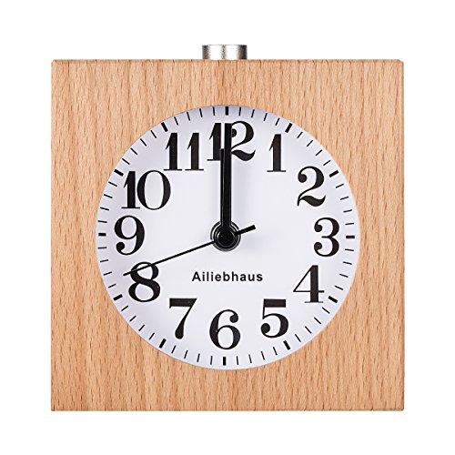 Ailiebhaus Wecker aus Holz, klassisch, für Nachttisch, Uhr mit Nachtlicht #G
