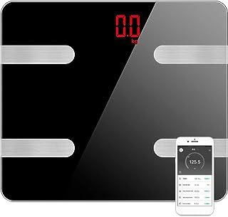 WZTO Balanza de Grasa Corporal Digital Inalámbrica Inteligente,15 datos Relacionados Analizador de Composición, Bluetooth ...