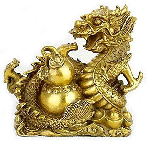 FGVBC Estatuas de dragón de latón Puro de Feng Shui Chino, decoración de Estatua de dragón del zodíaco, decoración de Adornos de Escultura de Riqueza y Buena Suerte