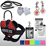 Activedogs Service Dog Kit Airtech Mesh Service Dog Vest Harness + Free Registered Service Dog ID + Clip-on Bridge Handle + 30 ADA/Federal Law Cards + Service Dog Travel Tag (XL, Red)