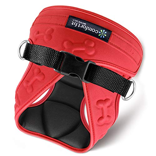 """metric USA Comfort Fit Step in Dog Harness Easy to Put on Take Off Adjustable Soft Padded Puppy Harness Vest for Small and Medium Dogs Under 30 lbs, Red, XS, Chest 12-14"""""""