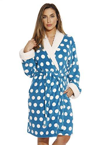 Just Love Sherpa - Albornoz de felpa para mujer, diseño de lunares, Turquoise, 2X