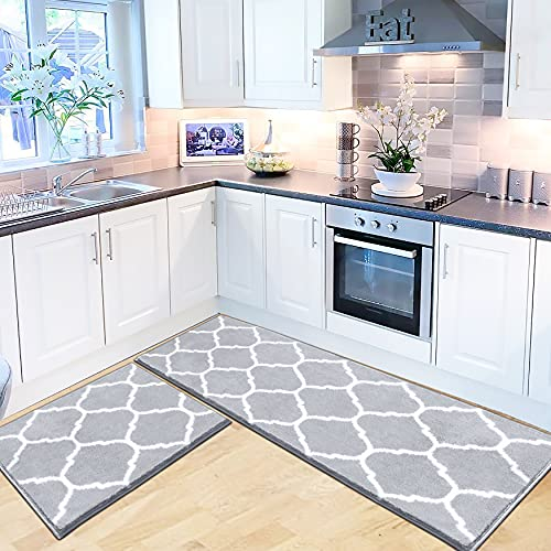 """IOHOUZE Kitchen Rugs and Mats Non Skid Washable [2 PCS], Soft Absorbent Kitchen Mats Set for Floor, Grey Trellis Runner Rug Carpets for Kitchen, Hallway, Bathroom, Laundry, Office - 20""""x30""""+20""""x60"""""""