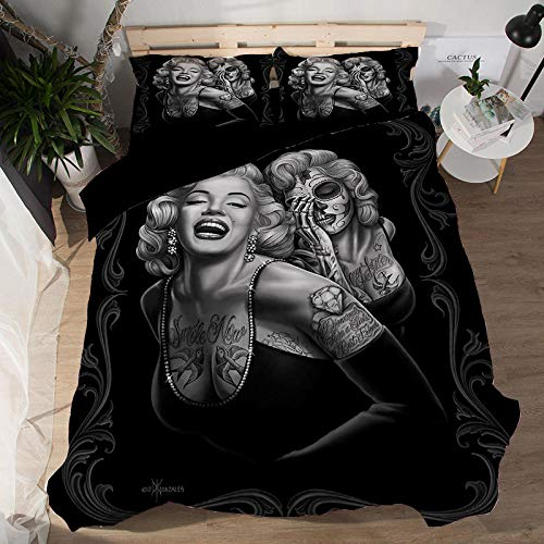 Fadaseo Duvet Cover Double 200 X 200 Cm 3D Printing European Beauty Star 3 Pieces Bedding Set. Easy Care And Super Soft Cotton Design.With 2 Pillowcases Hypoallergenic