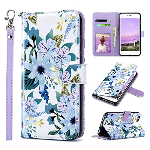 ULAK iPhone 6s Wallet Case, iPhone 6 Wallet, Flip PU Leather iPhone 6S Wallet Case with Card Holder Kickstand Designed Wrist Strap Shockproof Protective Cover for iPhone 6/6s 4.7inch, Blossom