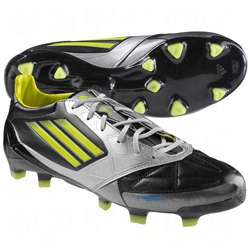 adidas F50 Adizero Leather TRX FG Soccer Shoes (Black/Lime) 7