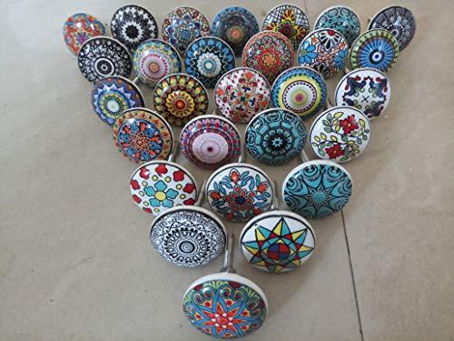 KNOBSWORLD - 12 pomelli in ceramica a forma di fiore, stile vintage, con motivo mandala