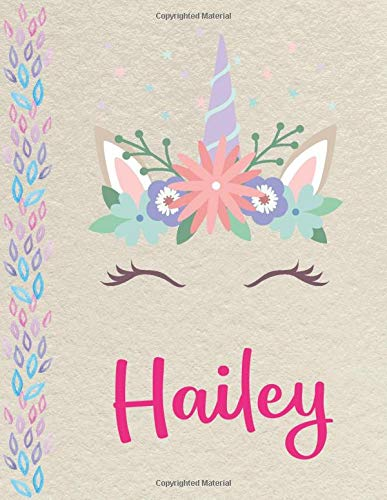 Hailey: Personalized unicorn SketchBook for girls, great gifts for kids. Large sketch book with pink Name for drawing, sketching, Doodling or learning to draw (sketch books for kids 8.5x11 110 pages )