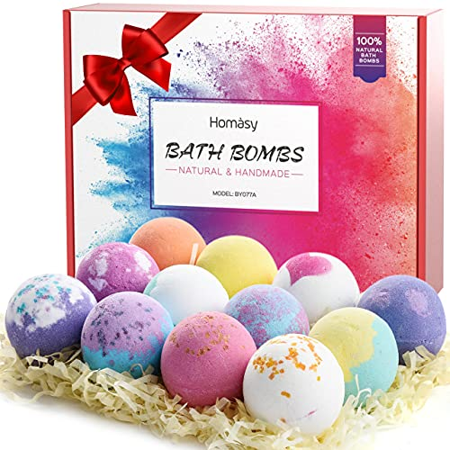 Homasy Bath Bombs, 12Pcs Bubble Bath Bomb for Women Kids Wife Mom, Handmade Bath Bomb Gift Set Rich in Essential Oils, Shea Butter, Sea Salt, SPA Bubble Fizzies Birthday Children's Day Gift